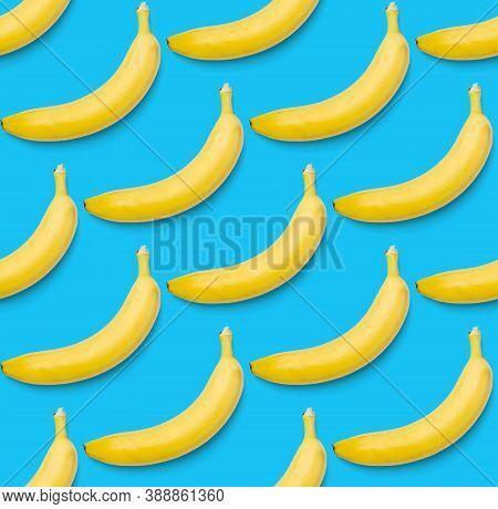 Bananas Seamless Pattern. Pop Art Bananas Pattern. Tropical Abstract Background With Banana. Colorfu