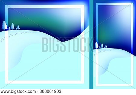 Template For Christmas, New Year Card With Winter Evening Landscape. Festive Greeting Card For Chris