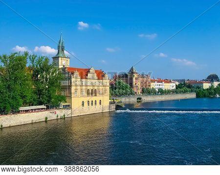 View Of Mala Strana Over Vltava River At Winter Sunny Day. Prague, Czech Republic