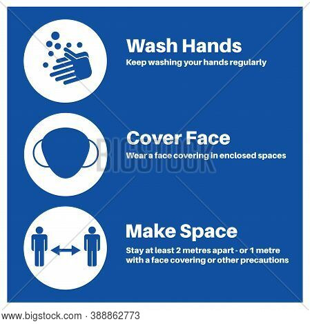Hands Space Face Covid-19 Information Vector Illustration