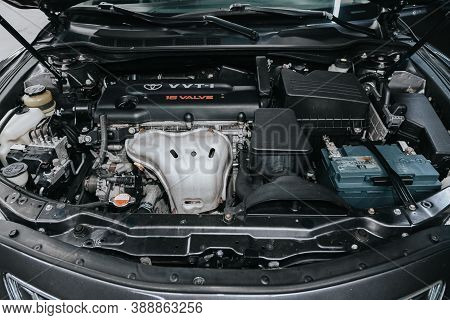 Novosibirsk, Russia - October 08, 2020: Toyota Camry, Close Up Detail Of  Car Engine, Front View. In