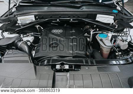 Novosibirsk, Russia - October 08, 2020: Audi Q5, Close Up Detail Of  Car Engine, Front View. Interna
