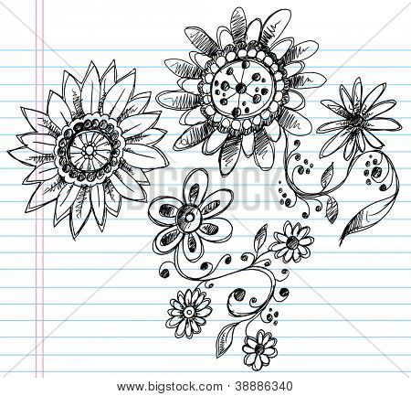 Sketchy Doodle Henna Elegant Flowers and Vines Hand Drawn Vector