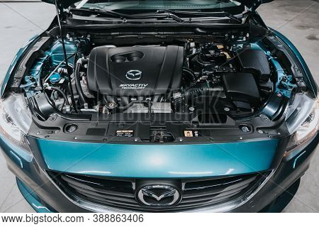 Novosibirsk, Russia - October 08, 2020: Mazda 6, Close Up Detail Of  Car Engine, Front View. Interna