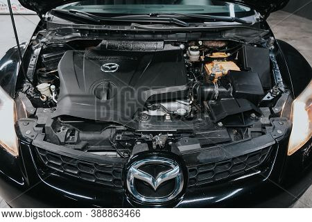 Novosibirsk, Russia - October 08, 2020: Mazda Cx-7, Close Up Detail Of  Car Engine, Front View. Inte