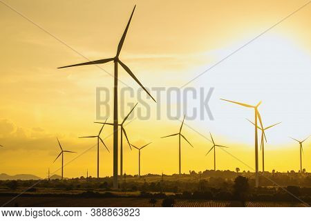 Wind Turbines, Eco Power And Agricultural Fields