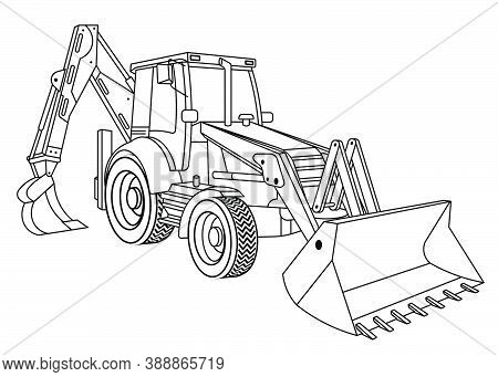 Children Linear Drawing For Coloring Book. Construction Equipment Tractor In Linear. Industrial Mach