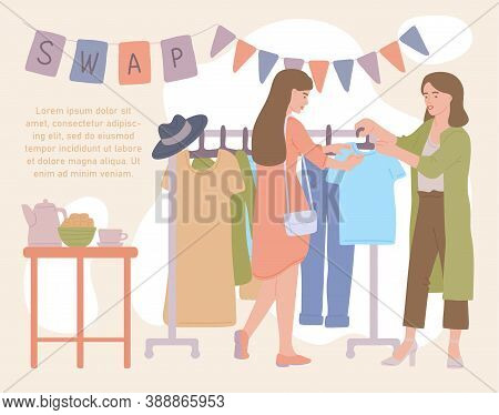 Women Attending Fashion Clothing Swap Party, Flat Cartoon Vector Illustration