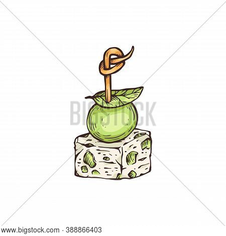 Finger Food Or Appetizer With Olive, Sketch Vector Illustration Isolated.