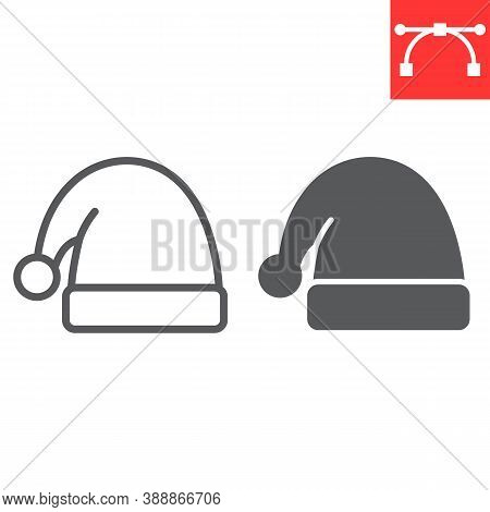 Santa Hat Line And Glyph Icon, Merry Christmas And Xmas, Noel Hat Sign Vector Graphics, Editable Str