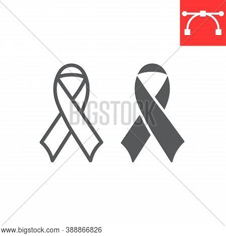 Worlds Aids Day Line And Glyph Icon, Aids And Hiv, Red Ribbon Sign Vector Graphics, Editable Stroke
