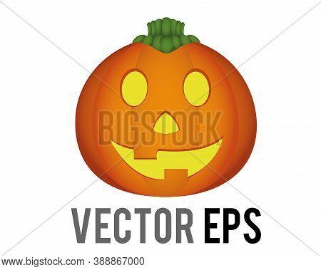 Vector Orange Pumpkin Jack O Lantern Icon For Halloween Holiday Decoration