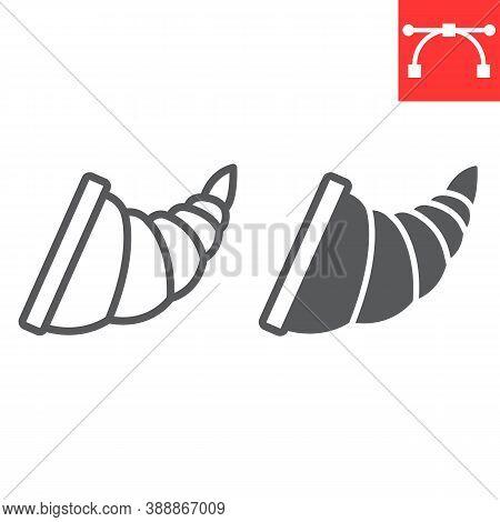 Cornucopia Line And Glyph Icon, Thanksgiving And Basket, Cornucopia Sign Vector Graphics, Editable S