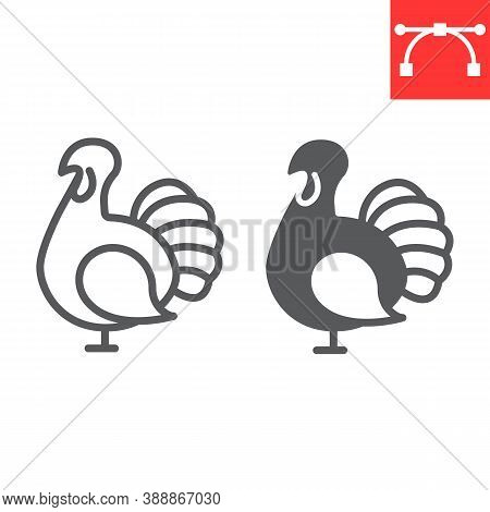Turkey Bird Line And Glyph Icon, Thanksgiving And Poultry, Turkey Bird Sign Vector Graphics, Editabl