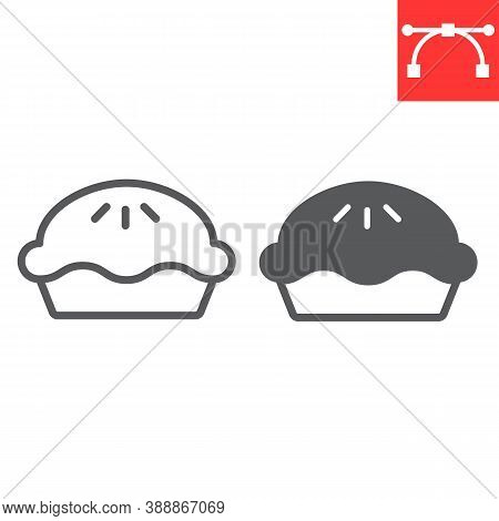 Pie Line And Glyph Icon, Thanksgiving And Bakery, Pumpkin Pie Sign Vector Graphics, Editable Stroke