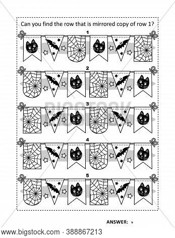 Halloween Puzzle Page With Bunting Rows: Can You Find The Row That Is Mirrored Copy Of Row 1? Answer