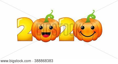 2020 Fall Season Sign. Holiday Numbers. Creative Congrats With Pumpkins. Bright Food Characters, 3d