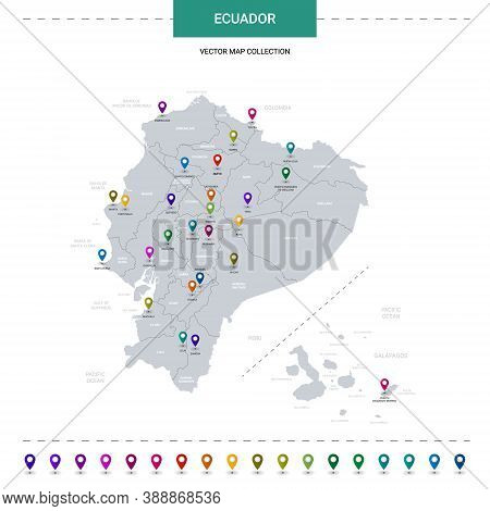 Ecuador Map With Location Pointer Marks. Infographic Vector Template, Isolated On White Background.
