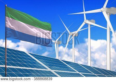 Sierra Leone Solar And Wind Energy, Renewable Energy Concept With Windmills - Renewable Energy Again