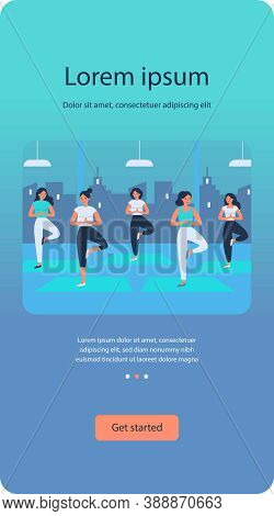 Women Yoga Group Flat Vector Illustration. Cartoon Female Characters Doing Exercise At Fitness Gym.