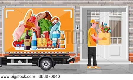 Delivery Truck Full Of Food And Courier. Concept Of Fast Grocery Delivery Service. Supermarket, Cafe