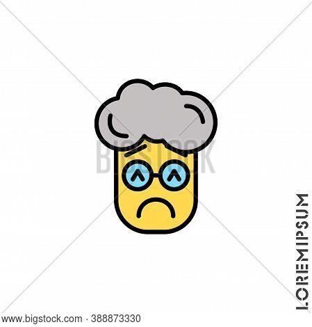 Sad And Bad Mood Yellow Emoticon Boy, Man Icon Vector Illustration. Style. Depressed, Sad, Stressed