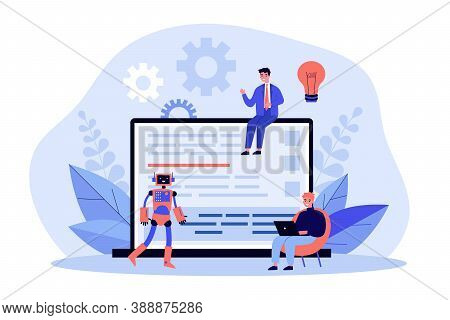 Tiny Men And Robot Near Laptop Computer With Code. Idea, Bulb, Project Flat Vector Illustration. Dev