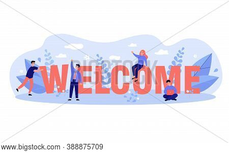 Happy Business Team Welcoming New Person To Their Company. Tiny People Making Greeting Gesture And C