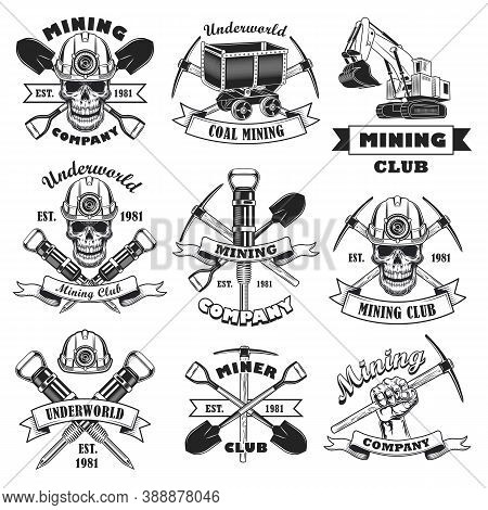 Black And White Coal Mining Company Flat Stamp Set. Monochrome Retro Skull Of Miner, Mine Tools And