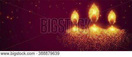Glowing Sparkles Diwali Diya Festival Banner Design
