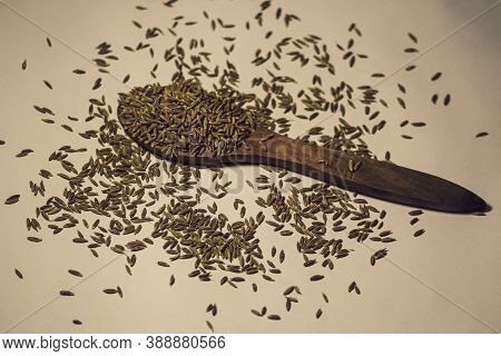 A Spoon Of Full Of Healthy Tasty Beneficial Cumin Seeds