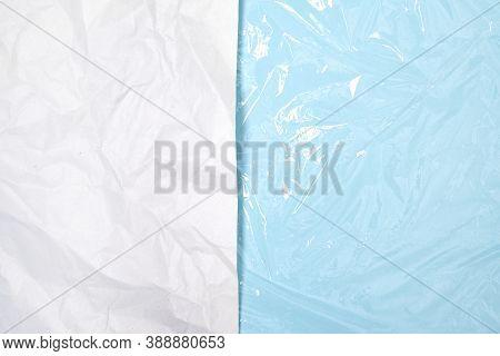 Clear Plastic Texture With Blue Color Vs Paper Texture. Nylon Polythene Wrap. Plastic Free Lifestyle