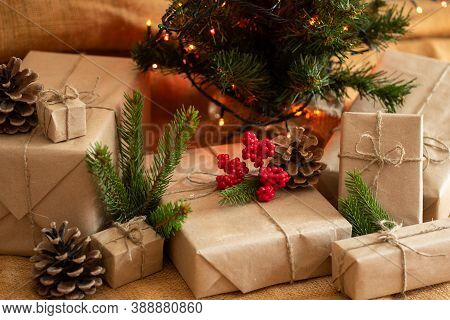 Christmas Presents. Gifts Under The Christmas Tree. Christmas Composition.