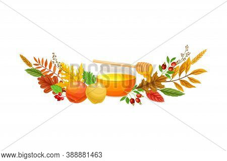 Honey In Glass Jar And Autumn Foliage With Apples And Hawthorn Semicircular Vector Composition