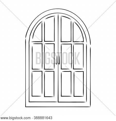 Modern Double Pvc Sash On Light Inside Wall Backdrop. Freehand Outline Black Ink Hand Drawn, Window,