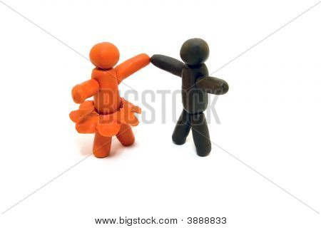 Clay human figures dancing isolated on white background poster