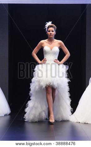ZAGREB, CROATIA - OCTOBER 27: Fashion model wears wedding dress made by Royal Bride on 'Wedding days' show, October 27, 2012 in Zagreb, Croatia.