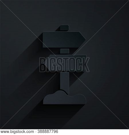 Paper Cut Road Traffic Sign. Signpost Icon Isolated On Black Background. Pointer Symbol. Street Info