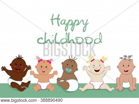 Happy Childhood Poster. Vector Template With Copy Space Of Sitting Happy Multinational Naked Babies