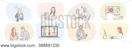 Business, Meeting, Partnership, Brainstorming, Meditation, Communication, Teamwork Set Concept. Coll