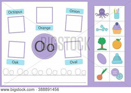 Alphabet Tracing Worksheet For Preschool And Kindergarten. Writing Practice Letter O. Exercises With