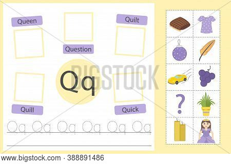 Alphabet Tracing Worksheet For Preschool And Kindergarten. Writing Practice Letter Q. Exercises With