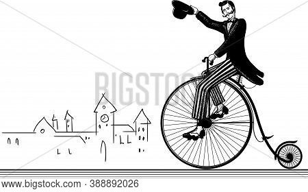Old-fashioned Gentleman Waving A Hat Riding A Classic Bicycle With A Big Front Wheel
