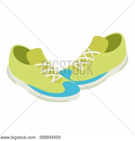 Green Sneakers Icon. Isometric Illustration Of Green Sneakers Vector Icon For Web