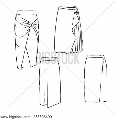 Skirt Hand Drawn Vector Illustration Black On White Line, Skirt, Vector Sketch Illustration