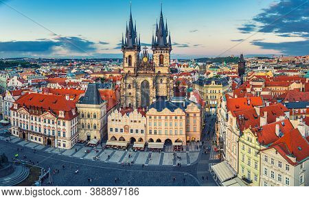Panorama Of Prague Old Town Historical Centre Stare Mesto Old Town Square Staromestske Namesti With