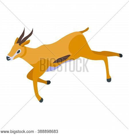 Running Gazelle Icon. Isometric Of Running Gazelle Vector Icon For Web Design Isolated On White Back