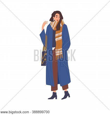 Beautiful Fashionable Young Woman In Casual Outerwear. Stylish Warm Seasonal Wear. Modern Female Cha