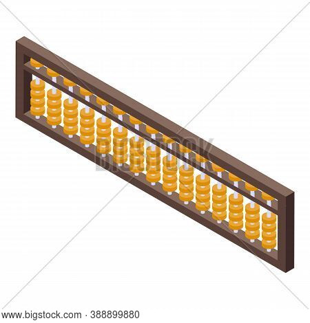 Math Abacus Icon. Isometric Of Math Abacus Vector Icon For Web Design Isolated On White Background