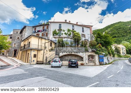 Petrella Salto, Italy. June 14, 2020: Ancient Medieval Italian Village With Houses Built With Stones